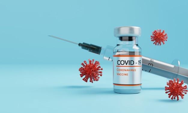 Бутылка вакцины против коронавируса с инъекционным шприцем и вирусом на синем фоне