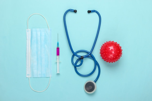 코로나 바이러스 백신, 진단. 바이러스 스트레인 및 주사기, 청진기, 블루 마스크