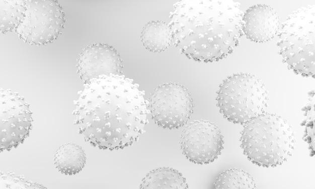 코로나 바이러스 흰색 그림. 코로나 바이러스의 분자 생물학. 바이러스 세포 3d 렌더링