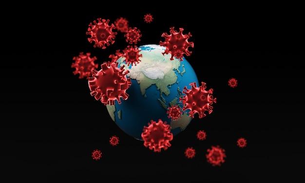 地球とコロナウイルス-インフルエンザの発生またはコロナウイルスインフルエンザ、3 dレンダリング