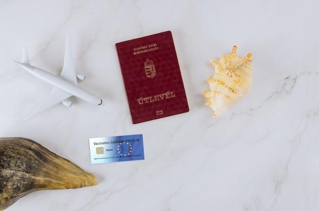 旅行予防接種文書のパスポートが付いたコロナウイルスは、covid-19の旅行者の健康の隣で予防接種を受けました