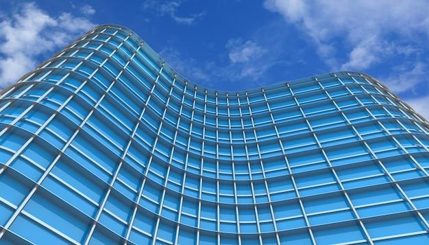 푸른 하늘과 기업 건물입니다. 3d 렌더링