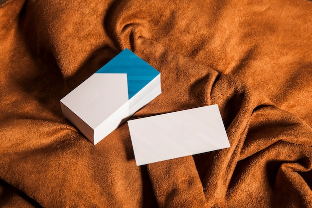 Corporate business cards on cloth