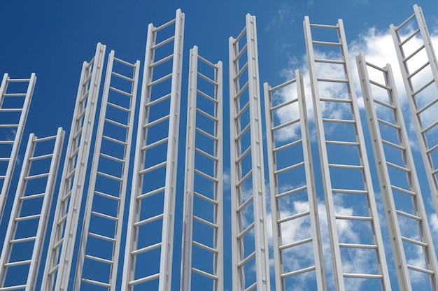 기업 사다리. 푸른 하늘에 대 한 여러 흰색 사다리입니다. 3d 렌더링.
