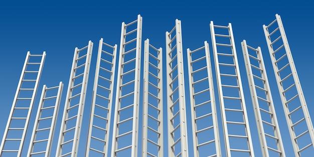 Корпоративные лестницы. множественные белые лестницы против голубого неба. 3d визуализация.