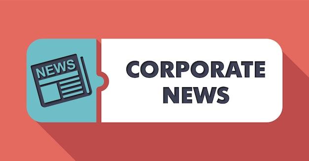 長い影のあるフラットなデザインの緋色に関する企業ニュースのコンセプト。