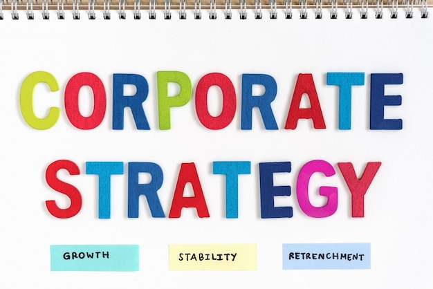 Corporate strategy definition on the notebook