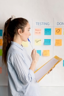 Corporate woman planning business method