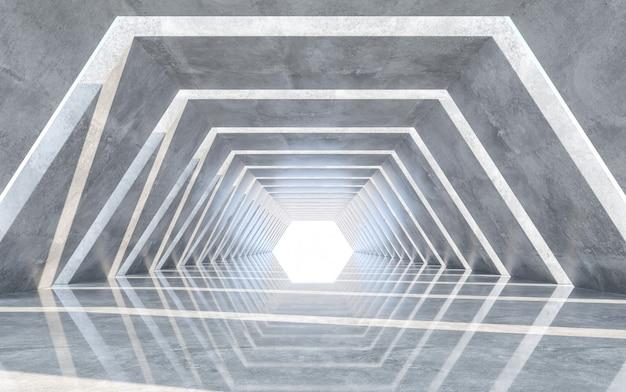 Corridor design with reflect floor. concept design. 3d rendering