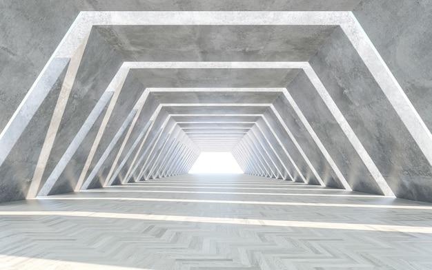Corridor design with water floor. concept design. 3d rendering