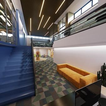 현대적인 건물의 복도, 3d 렌더링