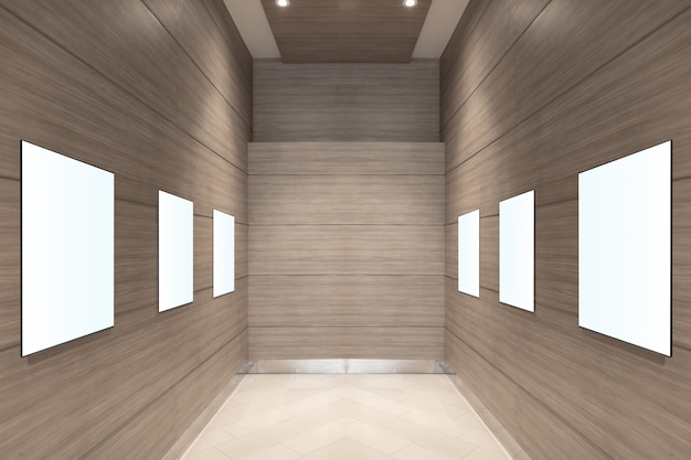 Corridor interior with empty banner on wall. advertisement concept. mock up