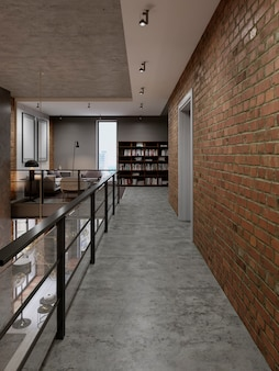 다락방 스타일의 도서관 레크리에이션 구역에 난간이 있는 복도. 3d 렌더링
