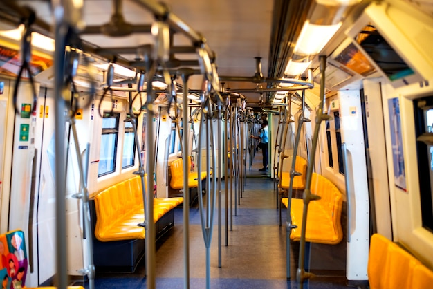Corridors and cabins within the bts sky train to travel in bangkok thailand