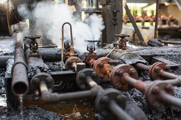 Corrosion rusty through valve tube steam gas leak pipeline at insulation
