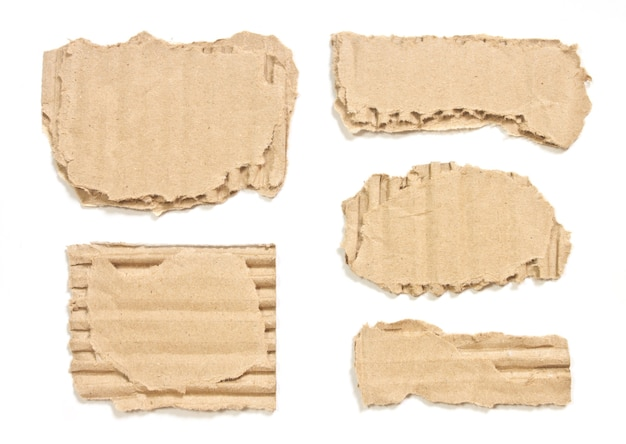 Corrugated torn cardboard paper isolated on white background