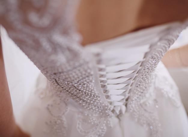 웨딩 드레스의 코르셋 무료 사진