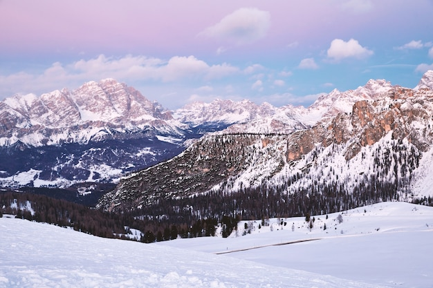 Cortina d€™ampezzo ski resort mountains covered in snow