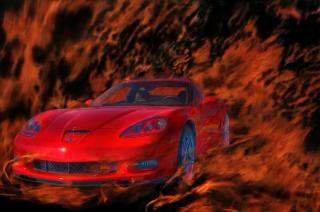 Corvet on fire