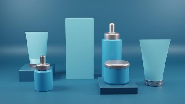 Cosmetic blank bottles packaging 3d render