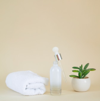 Cosmetic blank clear glass serum bottle next to plant and towel