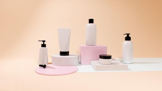 パステル、3 dレンダリングのパッケージデザインに設定された化粧品ボトルのモックアップ