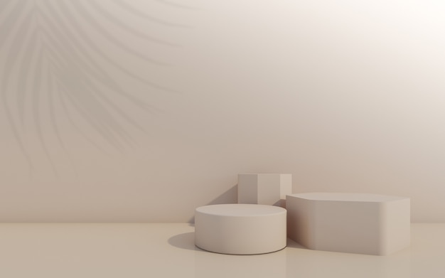 Cosmetic bottle podium  on brown  background 3d rendering