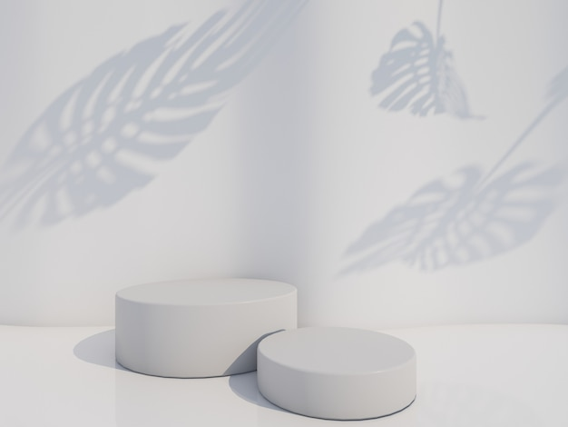 Cosmetic bottle podium with green leaf on white