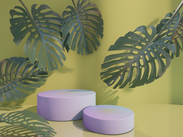 Cosmetic bottle podium with green  leaf on yellow 3d rendering.