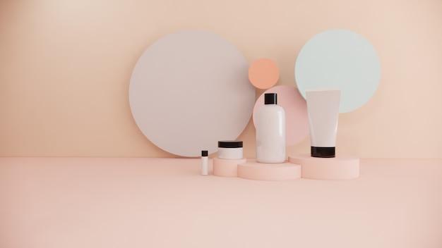 化粧品ボトル製品のモックアップセットパステル、3 dレンダリングのコンセプト美容マーケティング