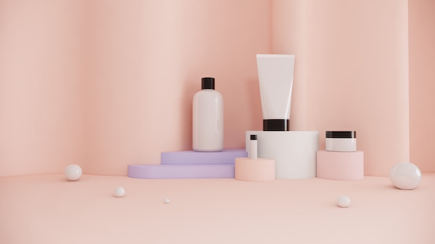Cosmetic bottle product set concept  beauty advertisement marketing on pastel background ,3d rendering