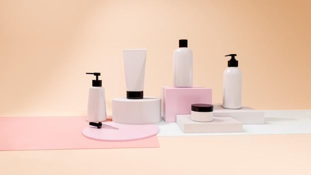 Cosmetic bottle set on pastel background,3d rendering design