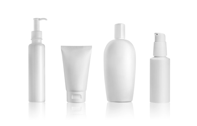 Cosmetic bottles and tube isolated on white