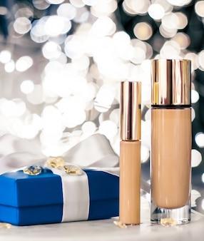 Косметический брендинг, рождественский блеск и девчачий блог, концепция праздничного макияжа, основа, консилер ...