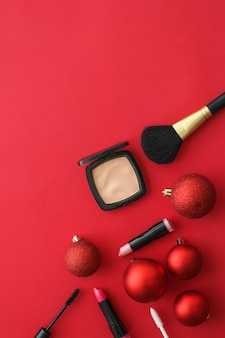 Cosmetic branding fashion blog cover and girly glamour concept  makeup and cosmetics product set for beauty brand christmas sale promotion luxury red flatlay surface as holiday design