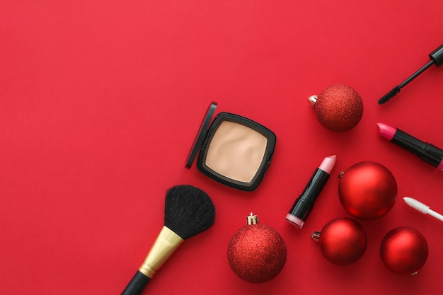 Cosmetic branding fashion blog cover and girly glamour concept  makeup and cosmetics product set for...