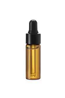 Cosmetic brown bottle with dropper and oil close up on isolate white background