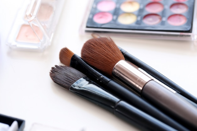Cosmetic brushes with powder