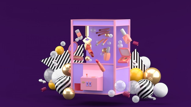 Cosmetic catcher machine amid colorful balls on a purple space