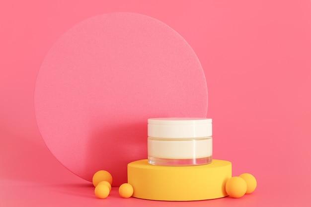 Упаковка косметического крема, стоящая на желтом подиуме. свободное место для текста или логотипа, место для копирования. презентация крема на розовом фоне. макет.