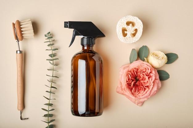 화장품 다크 앰버 유리 병 및 욕실 액세서리