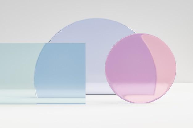 化粧品ディスプレイ製品の背景、白い背景の上の幾何学的形状のカラーガラス。 3dレンダリングイラスト