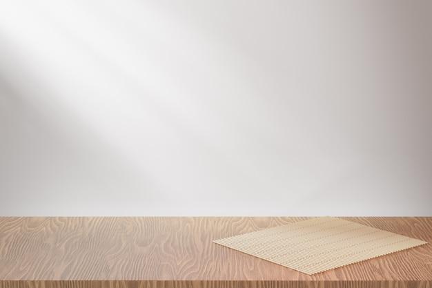 化粧品ディスプレイ製品スタンド、木の質感の床と日光の背景に竹寿司ローリングマット。 3dレンダリングイラスト