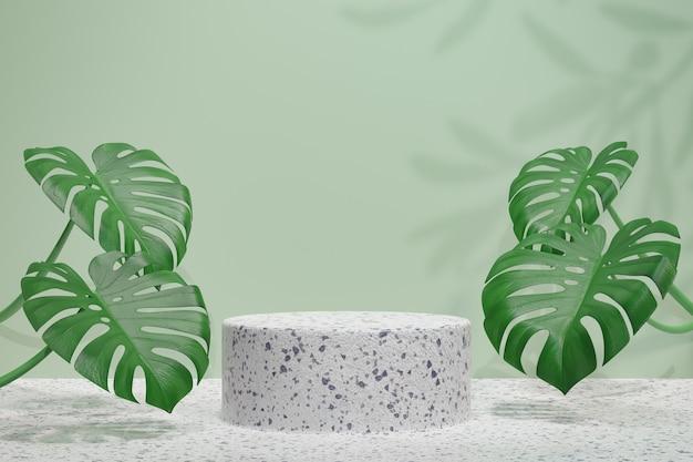 화장품 디스플레이 제품 스탠드, 녹색 잎 배경이 있는 콘크리트 실린더 연단. 3d 렌더링 그림
