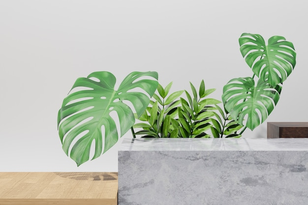 코스메틱 디스플레이 제품 스탠드, 콘크리트 테이블 상단 및 녹색 잎 배경이 있는 나무 보드. 3d 렌더링 그림
