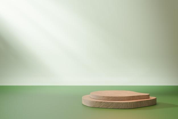 코스메틱 디스플레이 제품 스탠드, 녹색 바닥 및 햇빛 배경에 더블 우드 블록 연단. 3d 렌더링 그림