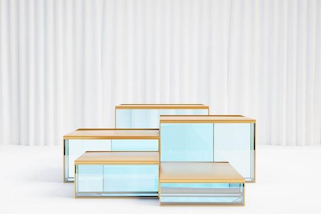 Косметическая витрина, пять стеклянных золотых подиумов с белой ненесущей стеной на светлом фоне. 3d визуализация иллюстрации