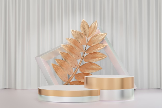 Cosmetic display product stand, gold white cylinder and frame wall with gold leaf background. 3d rendering illustration