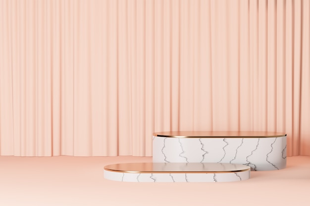 Cosmetic display product stand, gold white marble round bar podium on light pink curtain background. 3d rendering illustration