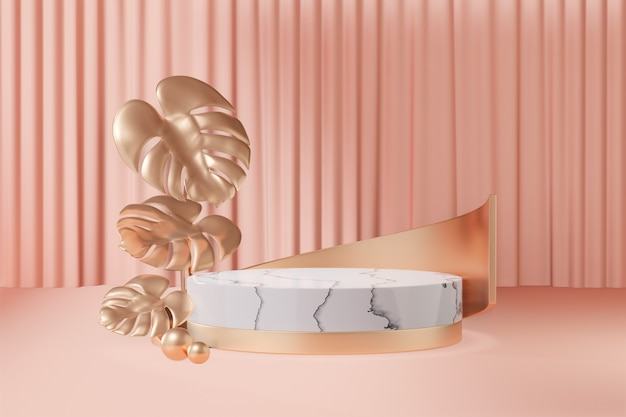 Cosmetic display product stand, gold white marble round cylinder podium with gold curve and gold leaf and old rose color pastel background. 3d rendering illustration